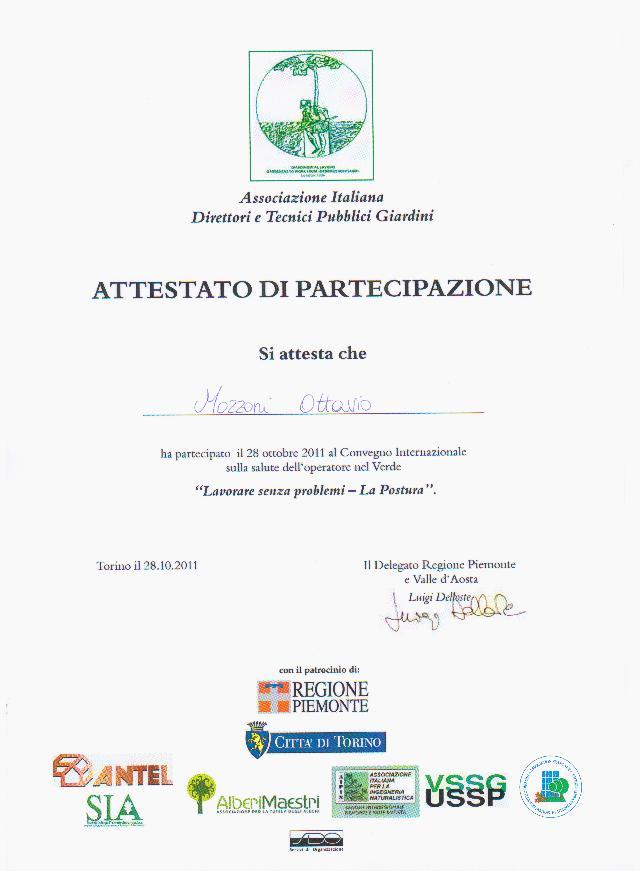 1° Convegno Internazionale sulla salute dell'operatore nel verde - La Postura
